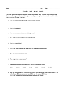 Physics Unit 1 Study Guide Worksheet
