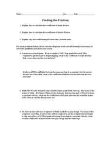 Finding the Friction Worksheet