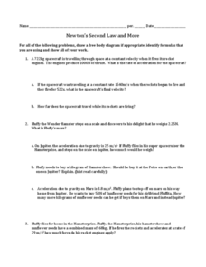 Newton's Second Law and More Worksheet for 9th - 12th Grade | Lesson ...