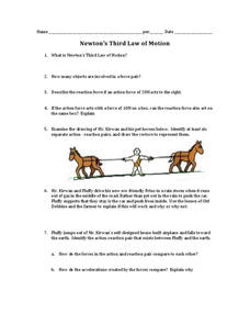 Newton's Third Law of Motion Worksheet