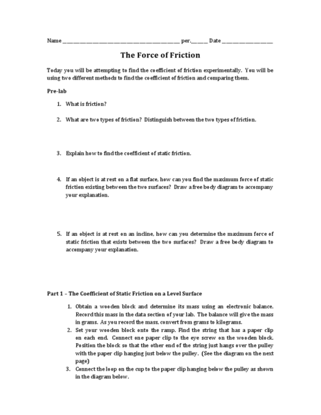 The Force of Friction 9th  12th Grade Worksheet  Lesson Planet