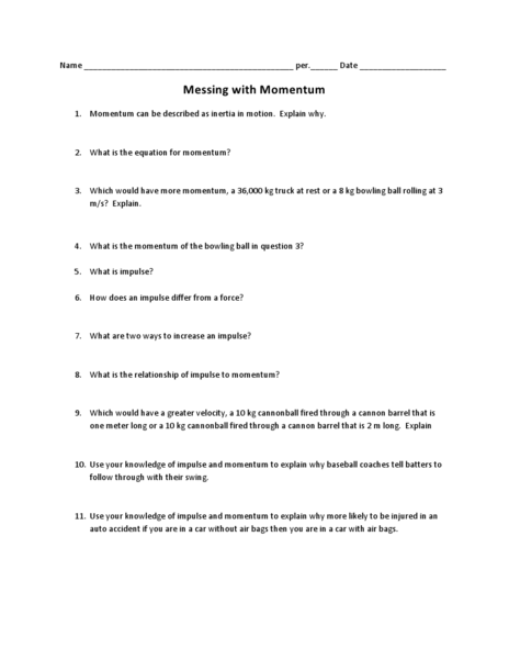 Messing with Momentum Worksheet for 9th - 12th Grade ...