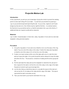 Projectile Motion Lab Lesson Plan for 9th - 12th Grade