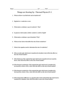 Things are Heating Up - Thermal Physics Part 2 Worksheet