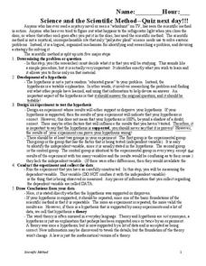 Science and the Scientific Method Worksheet