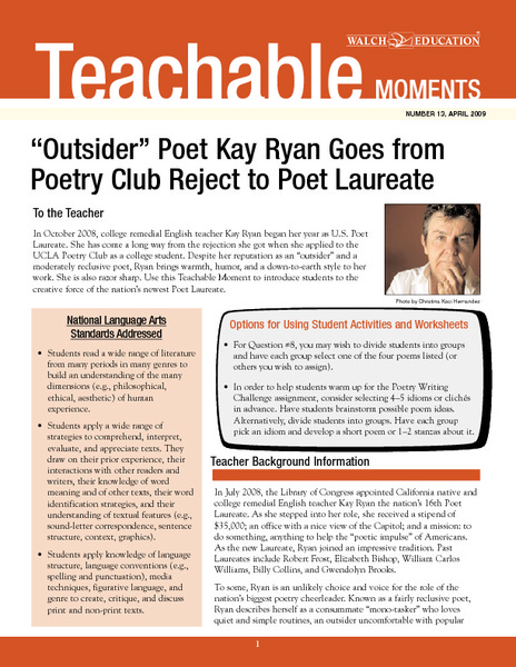 """Outsider"" Poet Kay Ryan Goes from Poetry Club Reject to Poet Laureate Lesson Plan"