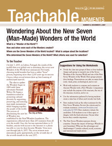 Wondering About the New Seven (Man-Made) Wonders of the World Worksheet