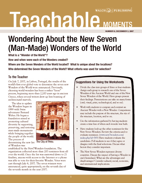 Wondering About the New Seven (Man-Made) Wonders of the World Handouts & Reference