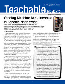 Vending Machine Bans Increase in Schools Nationwide Lesson Plan