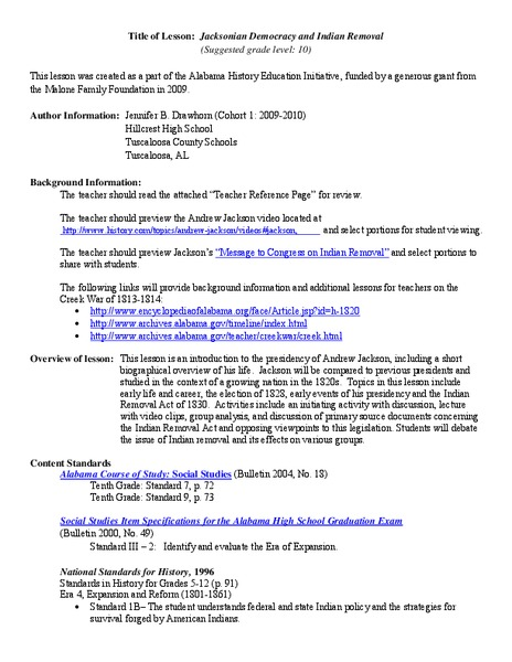 Jacksonian Democracy and Indian Removal Lesson Plan for 9th ...