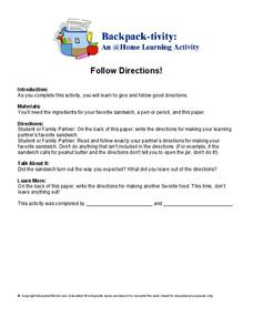 Follow Directions Worksheet