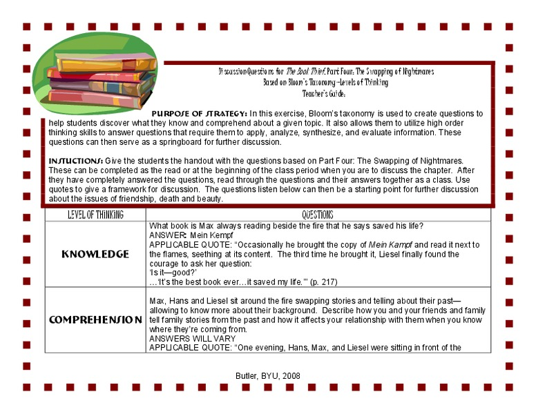 The Book Thief: Discussion Questions 7th - 12th Grade Lesson Plan ...