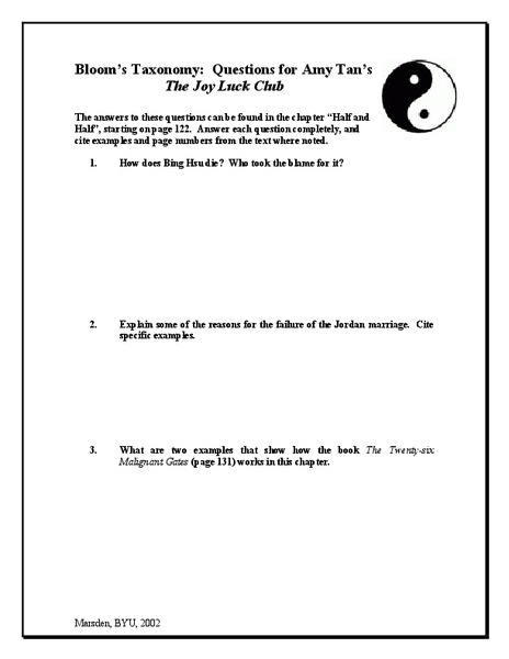 The Joy Luck Club: Bloom's Taxonomy: Questions Worksheet