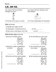 A.M. and P.M. Worksheet