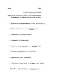 To Kill a Mockingbird Vocabulary List 4 Worksheet for 8th - 9th ...
