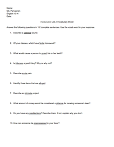 Frankenstein List 2 Vocabulary Sheet  Worksheet