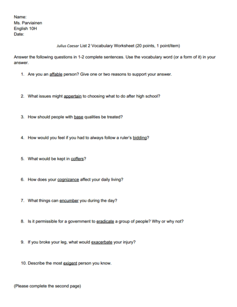 Julius Caesar List 2 Vocabulary Worksheet Worksheet For