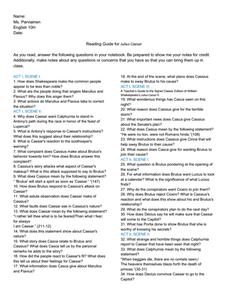 Reading Guide for Julius Caesar Worksheet for 7th   12th ...