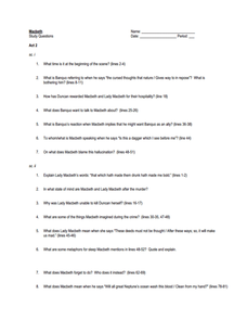 Macbeth Study Questions: Act II  Worksheet