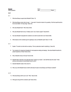 Macbeth Study Questions, Act 3 Worksheet