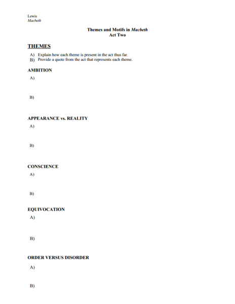 Themes and Motifs in Macbeth Act Two Worksheet for 11th ...