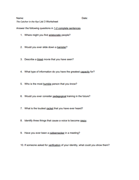 The Catcher in the Rye Vocabulary Worksheet 3 Worksheet