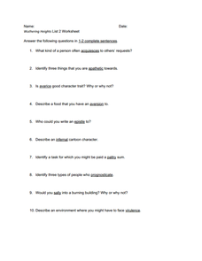 Wuthering Heights Vocabulary List 2 Worksheet Worksheet