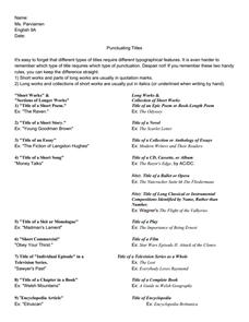 Worksheets Punctuating Titles Worksheet punctuating titles 8th 9th grade worksheet lesson planet worksheet