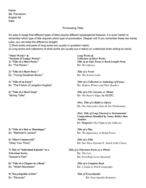 Punctuating Titles 8th - 9th Grade Worksheet | Lesson Planet
