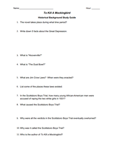 To Kill a Mockingbird Historical Background Study Guide  Worksheet