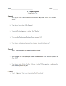 To Kill A Mockingbird: Study Guide Part I Worksheet