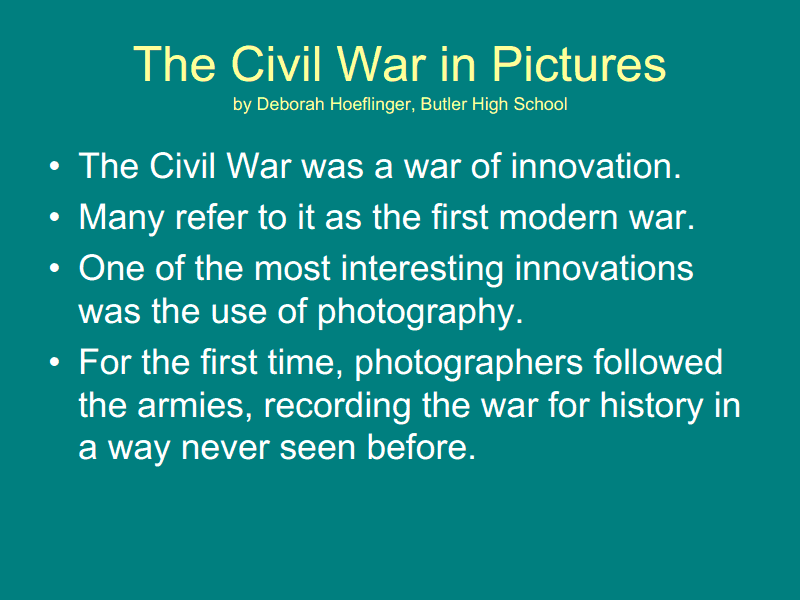 The Civil War in Pictures Presentation