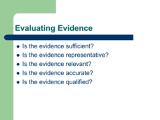 Evaluating Evidence  Presentation
