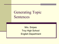 Generating Topic Sentences  Presentation