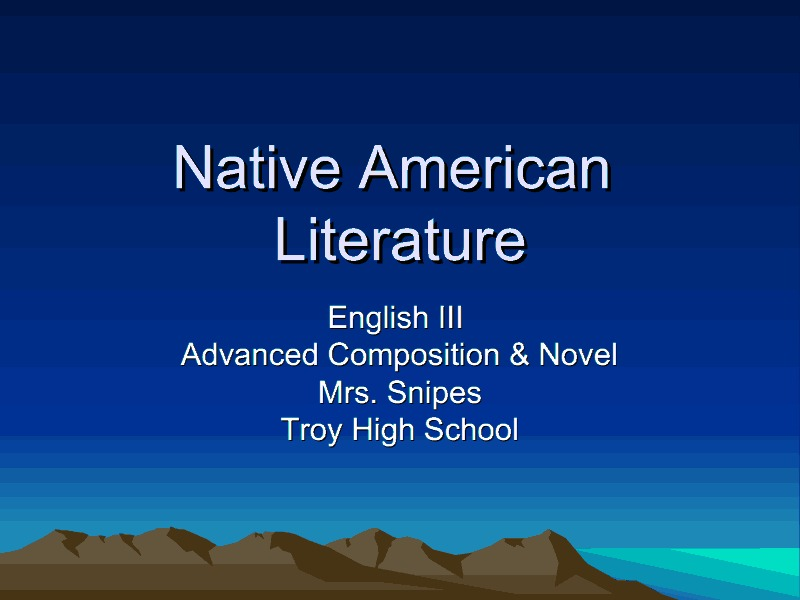 Native American Literature Presentation