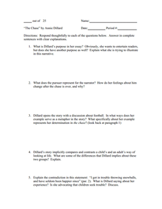 """The Chase"" Reading Questions  Worksheet"