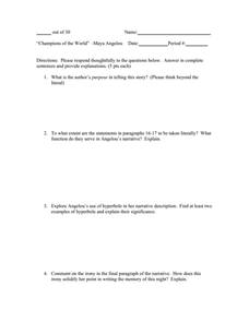 """Champion of the World"" Worksheet"