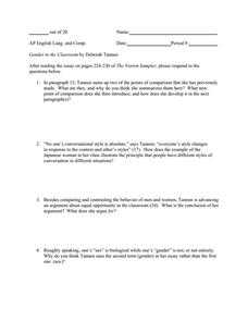 deborah tannen gender in the classroom essay Deborah tannen, gender in the classroom | diagnostic quiz © 2018 ww norton and company, inc.