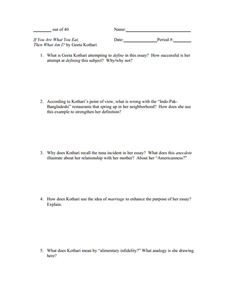 """If You Are What You Eat, Then What Am I?"" Worksheet"