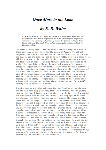 Example Of A Thesis Statement In An Essay  Once More To The Lake By Eb White Worksheet How To Write An Application Essay For High School also Topics For Argumentative Essays For High School Once More To The Lake By Eb White Worksheet For Th  Higher Ed  Business Plan Essay