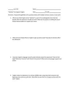 salvation by langston hughes th th grade worksheet lesson salvation by langston hughes worksheet
