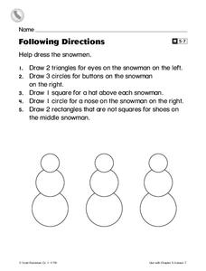 Following Directions Worksheet
