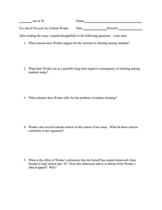 """Too Much Pressure"" by Colleen Wenke Worksheet"
