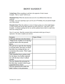 Worksheets Identifying Irony Worksheet Answers identifying irony worksheet sharebrowse collection of types sharebrowse