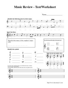 Music Review Test Worksheet