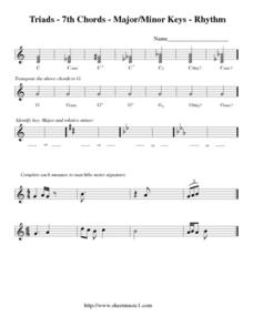 Triads - 7th Chords - Major/Minor Keys - Rhythm Worksheet