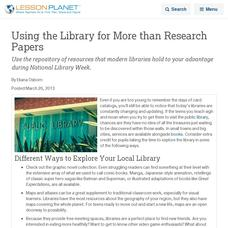 Using The Library For More Than Research Papers Lesson Planet Article