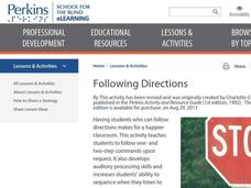 Following Directions Lesson Plan