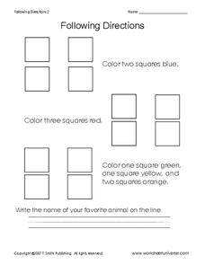 Following Directions- Coloring Squares Worksheet