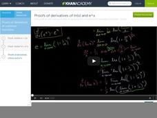 Proofs of Derivatives of Ln(x) and e6x Video